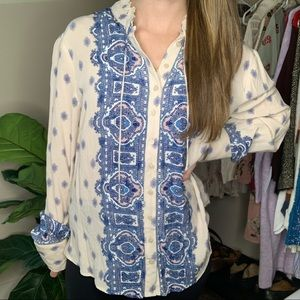 NWT Free People Cream and Blue Printed Blouse